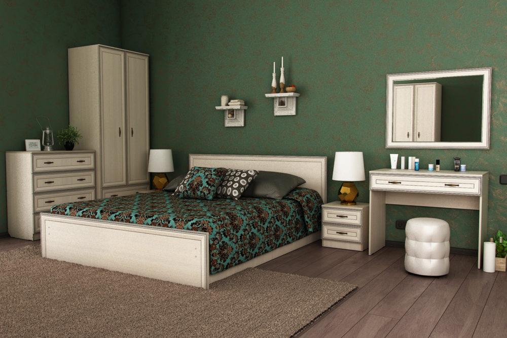 aq_block_1-Комод; Шкаф двухств. с ящ.; Кровать 1.6 с ящ.; Зеркало; Тумба прикроватная; Туалетный столик; Пуфик Круглый